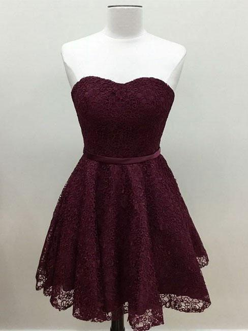 Sweetheart Cute Simpe Maroon Short Lace Homecoming Dresses 2018, BDY0259