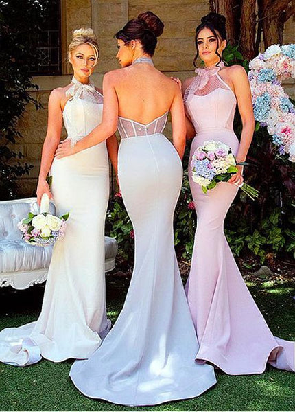 Charming Tulle Halter Neckline Backless Mermaid Long Bridesmaid Dresses,Wedding Party Dresses,WGY0189