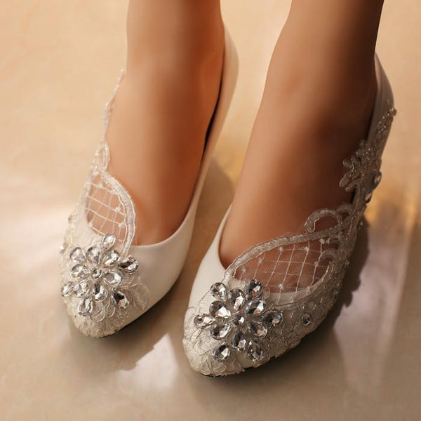 Handmade Middle Heels Pointed Toe Lace Crystal Wedding Bridal Shoes, SY0113
