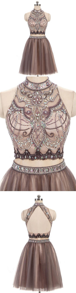 Beading Charming High Neck Open Back Two Pieces Pretty Popular Homecoming Dresses For Teen , BDY0104