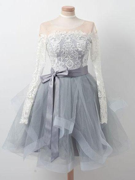 Long Sleeves Lace Grey Short Cheap Homecoming Dresses Online, BDY0275