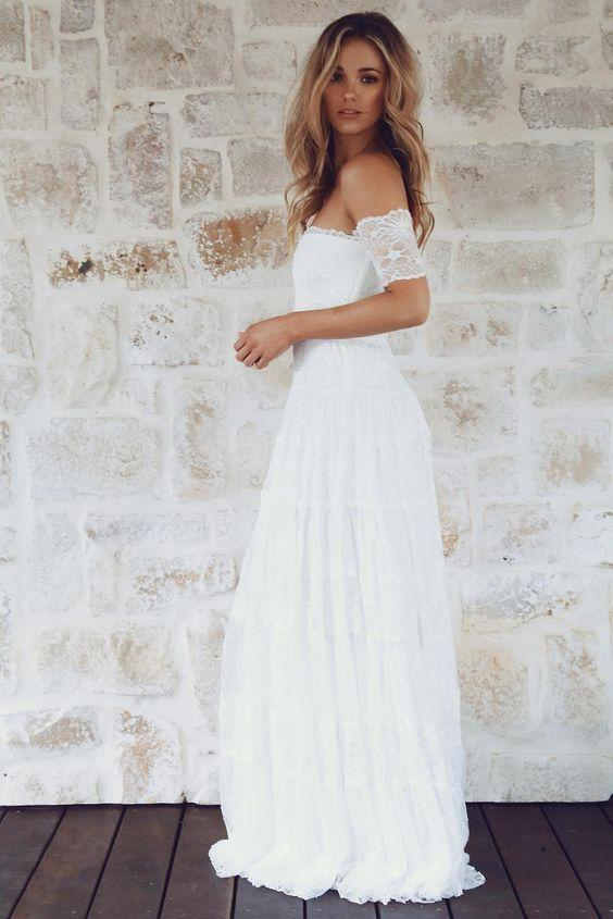 Off Shoulder Casual Cheap Ivory Lace Wedding Dresses Online, WDY0230