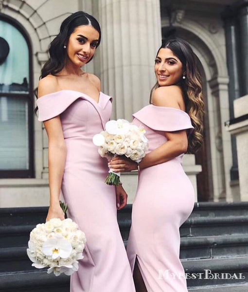 Lovely Off-Shoulder Short Cheap Bridesmaid Dresses with Sexy Slit, TYP0004