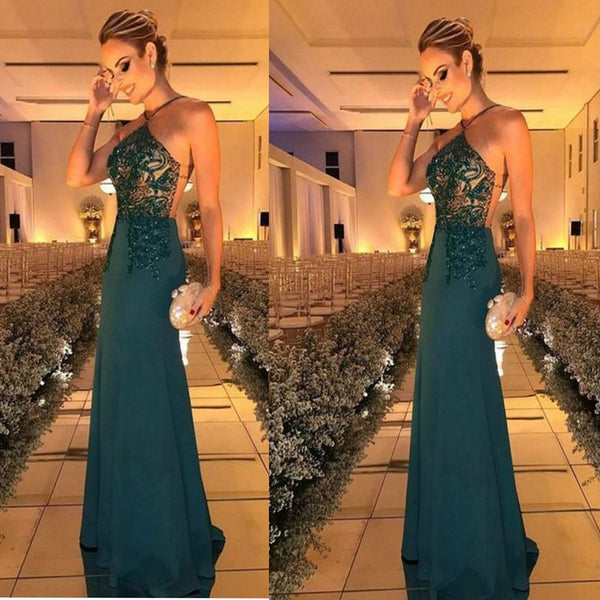 Sexy Backless Chiffon  Floor Length Party Dress With Beads ,Custom Dress, Party Cocktail Dress ,PDY0304