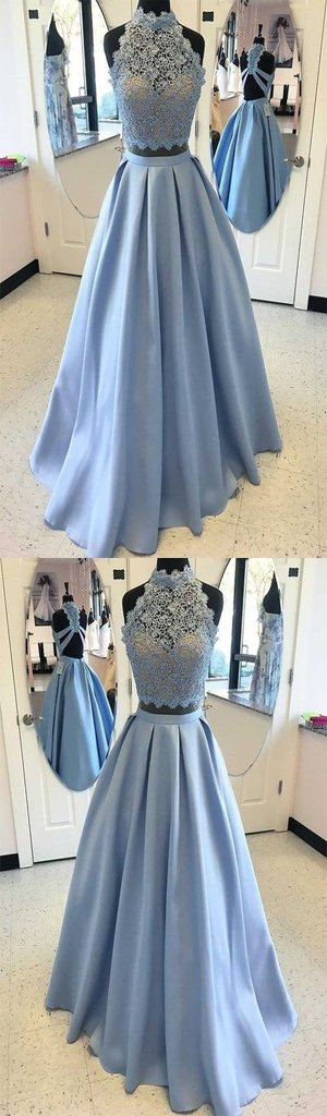 2019 High Fashion Two-Piece A-Line Blue Satin Long Prom Dress with Lace , Fashion Gown. PDY0186