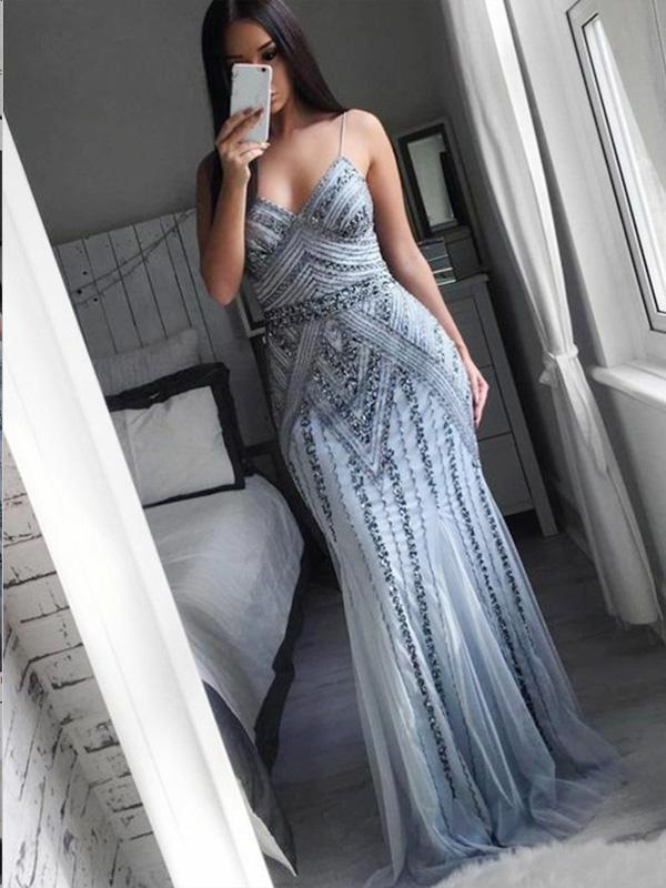 Mermaid Spaghetti Straps Grey Tulle Prom Dresses,Cheap Prom Dresses,PDY0498