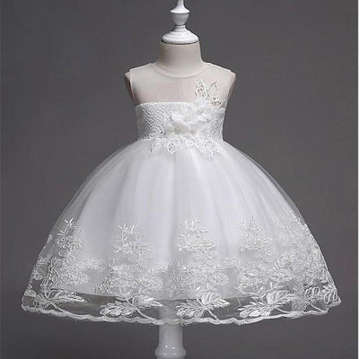 A-line Beaded White Lace Flower Girl Dresses With Handmade Flowers ,Cheap Flower Girl Dresses ,FGY0167