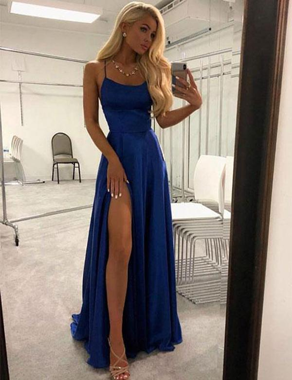 Spaghetti Straps A Line Navy Blue Prom Dress With Split Front,Cheap Prom Dresses,PDY0642