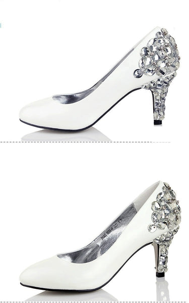 Women's Sparkly Crystal High Heels Pointed Toe White Wedding Bridal Shoes, SY0139