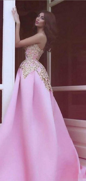 2019 Strapless Unique Design Gold Lace Pink Satin Long Prom Dresses, BG0133