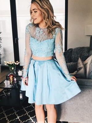 Two Pieces Long Sleeves See Through Cheap Homecoming Dresses Online, BDY0357
