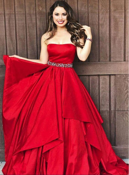 2019 A-line Strapless Satin Beading Red  Layered Long Elegant Prom Dresses, Fashion Gown. PDY0184