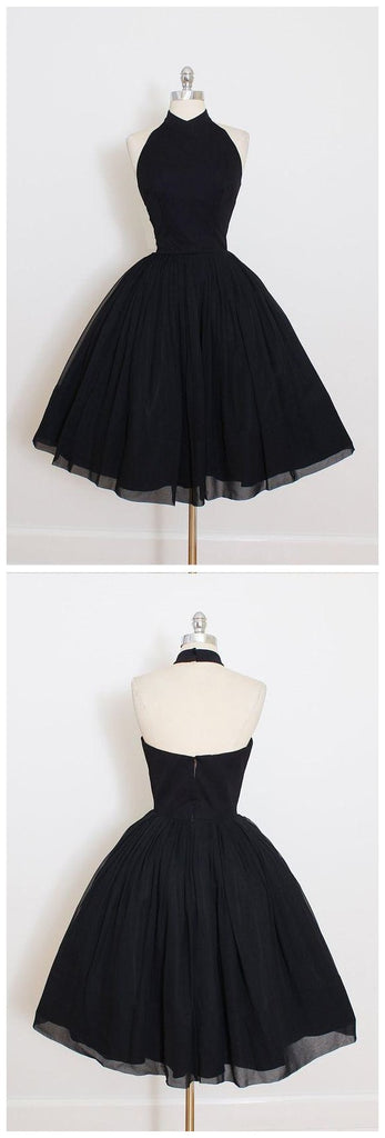 Black Halter Simple Cheap Short Homecoming Dresses 2018, BDY0291