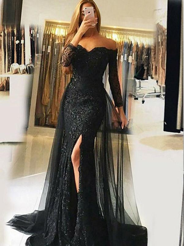 Mermaid Off-the-Shoulder Long Sleeves Black Prom Dress,Cheap Prom Dresses,PDY0544