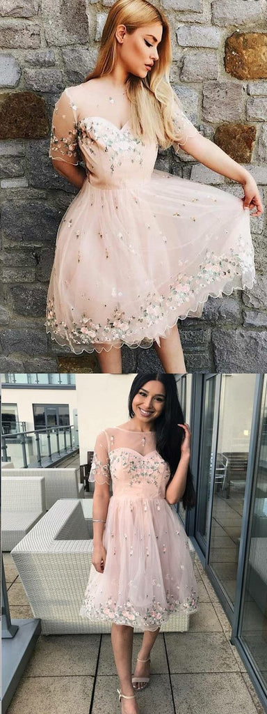 A-Line Bateau Pink Tulle Homecoming Dress With Appliques,Short Prom Dresses,BDY0332