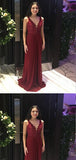 A-line V-neck Burgundy Lace Long Evening Prom Dresses,Cheap Prom Dresses,PDY0506