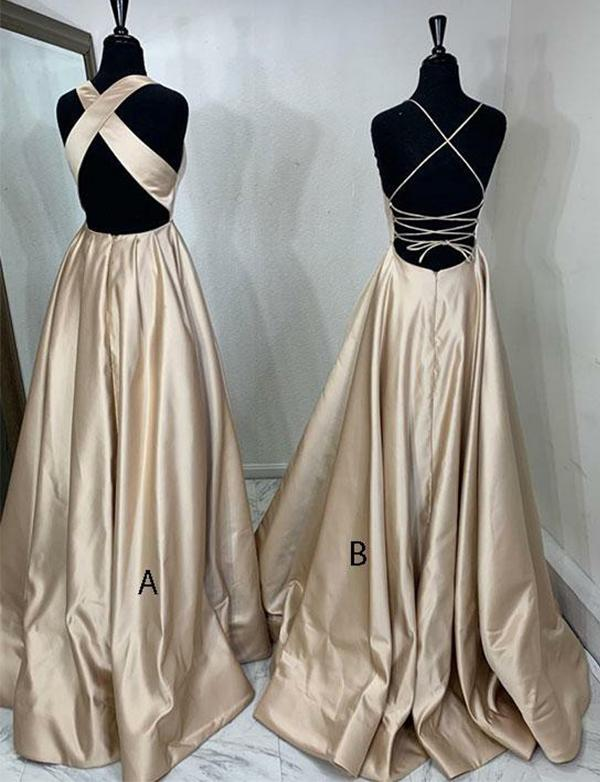 Simple A-line Satin Long Evening Dresses,Cheap Prom Dresses,PDY0633