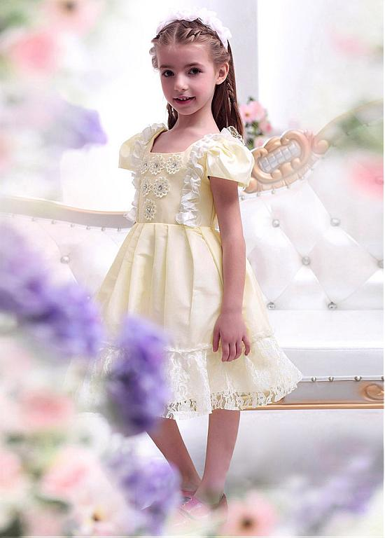 Cute Beaded Ivory Lace Flower Girl Dresses With Handmade Flowers ,Cheap Flower Girl Dresses ,FGY0168
