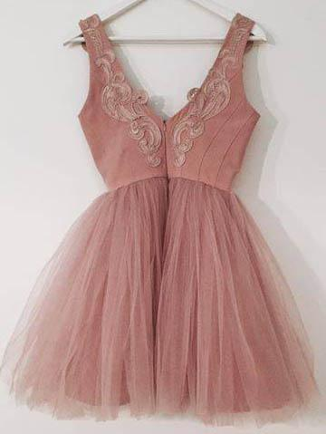 Dusty Pink V Neck Lace Cheap Short Homecoming Dresses Online, BDY0267