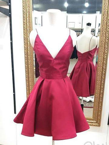 Elegant Simple Red V Neck Cheap Short Homecoming Dresses Online, BDY0266