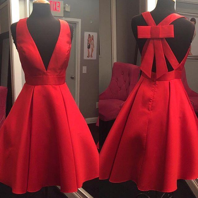 Short Cheap Simple V Neck Red Homecoming Dresses 2018, BDY0364