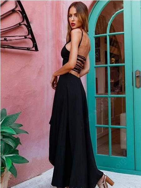 2019 A-line Scoop Neck Lace Up Silk-like Satin Asymmetrical  Short Front Long Back  Popular Newest Prom Dresses, Fashion Gown,PDY0101