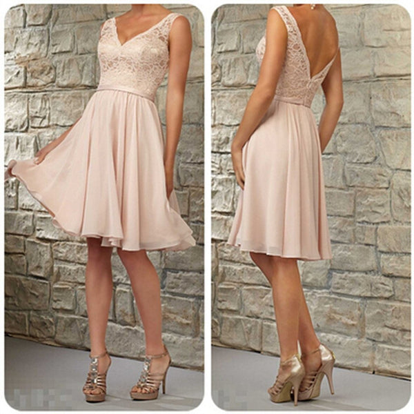 Short Lace Top Off Shoulder V-Neck Knee-Length Blush Pink Bridesmaid Dress, WGY0115