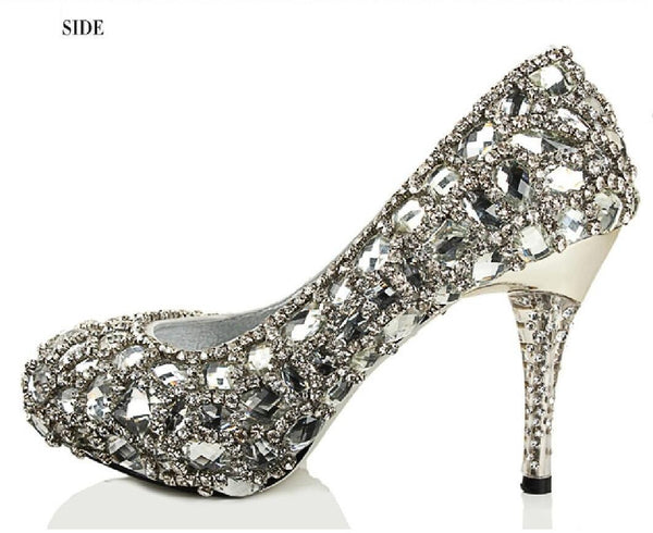 Sparkly Crystal High Heels Pointed Toe Rhinestone Wedding Bridal Shoes, SY0135