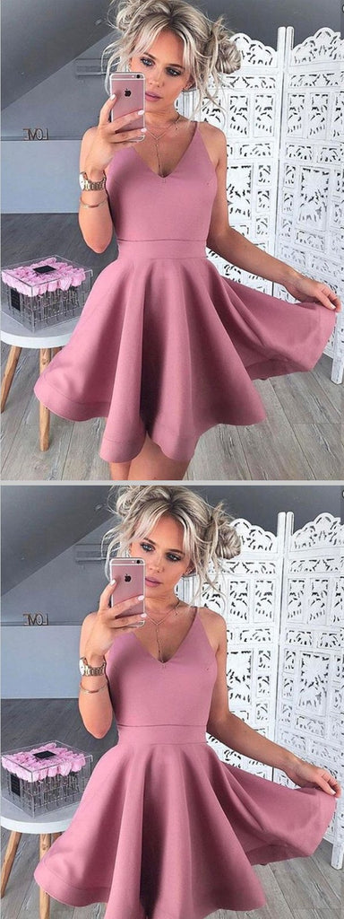 A-Line V-Neck Sleeveless Blush Satin Short Homecoming Dresses ,BDY0270