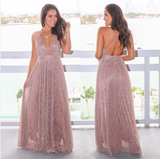 Deep V-neck Rose Gold Sequin Long Prom Dresses ,Cheap Prom Dresses,PDY0445