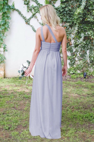 One Shoulder Chiffon A-Line Floor-Length Bridesmaid Dresses,Bridesmaid Gown ,WGY0148