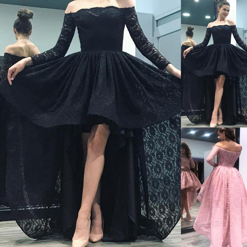 Hi-low Off Shoulder Long Sleeve Lace Prom Dresses, Newest Cheap Prom Dresses, BG0352