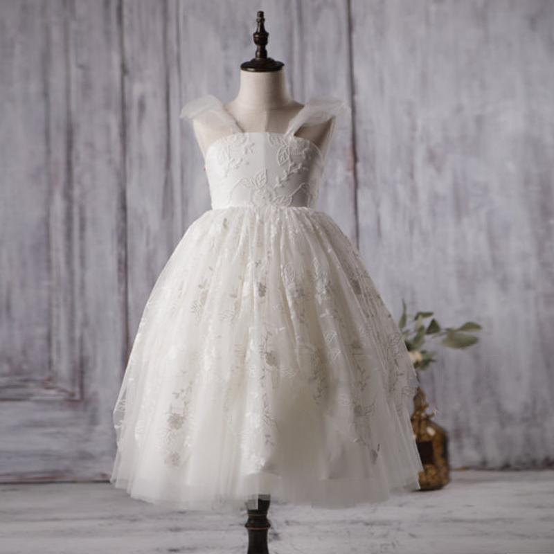 Ivory Cute Lace Tulle Flower Girl Dresses, V-back Cap Sleeve Little Girl Dresses, FGY0134