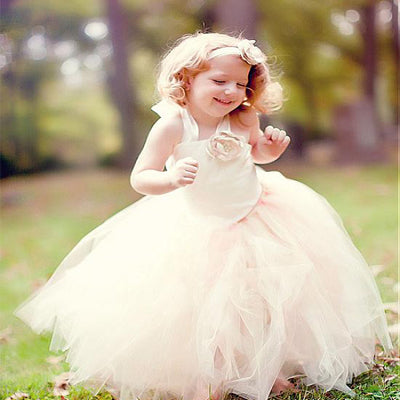 Lovely Pink Tulle Flower Girl Dresses With Handmade Flowers ,Cheap Flower Girl Dresses ,FGY0170