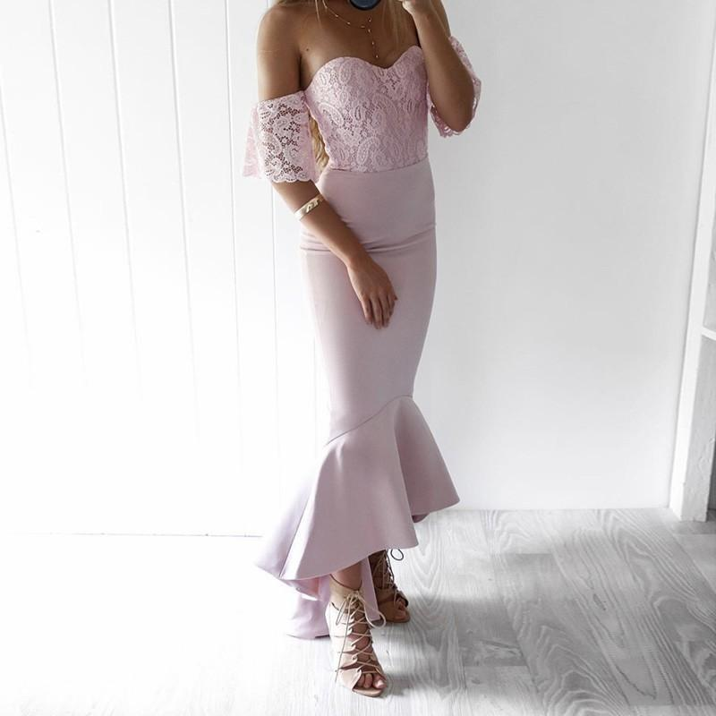 Off Shoulder Short Sleeve Mermaid Cheap Pink Bridesmaid Dresses Online,WGY0279