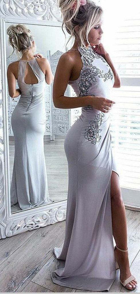 Mermaid Open Back Grey Prom Dress With Appliques Split,Cheap Prom Dresses,PDY0542