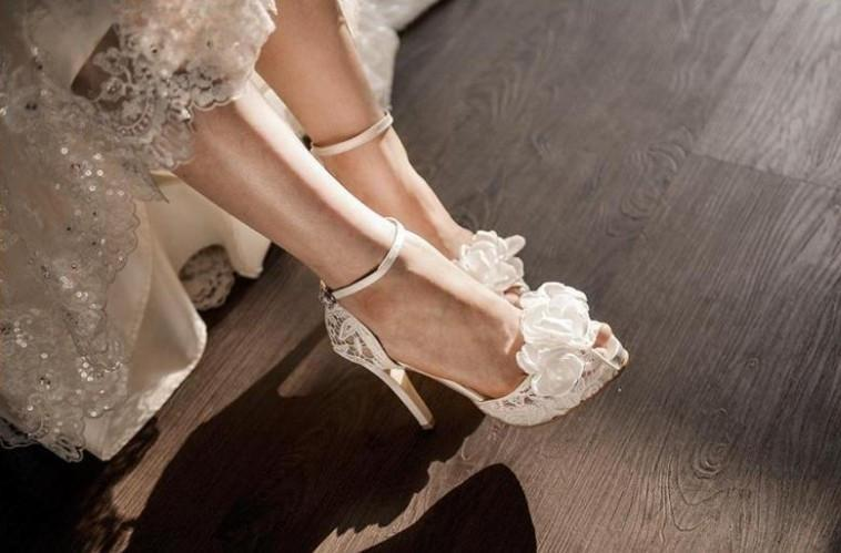 See through Ivory Lace Women's High Heels Fish Toe Wedding Shoes, SY0133