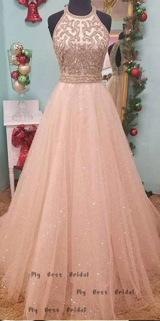 A-line Pink Tulle Long Evening Dresses,Cheap Prom Dresses,PDY0639