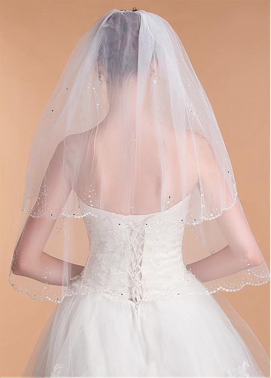 Shinning Tulle Double Layer Short Wedding Veil With Beading ,WV0124
