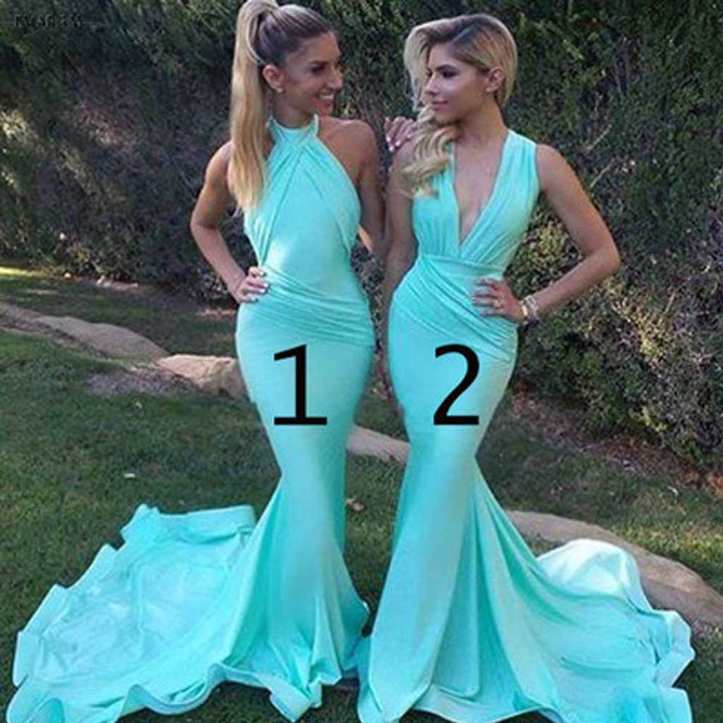Unique Sexy Mermaid Blue Mismatched Charming Inexpensive Long Wedding Party Dresses , WGY0116