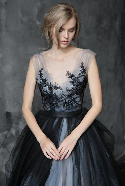 A-line Beaded Black Lace Wedding Dresses.Cheap Wedding Dresses, WDY0278
