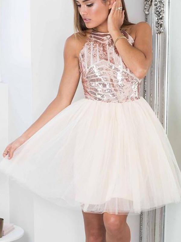 Sparly Sequin Tulle Cute Simple Cheap Homecoming Dresses 2018, BDY0241