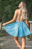 Popular Spaghetti Straps Blue Lace A-line Short Cheap Homecoming Dresses, HDS0008