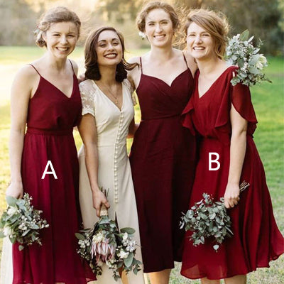 Attractive Chiffon V-neck Natural Waistline Knee-length Short Wedding Guest Dresses,Bridesmaid Dresses,WGY0176