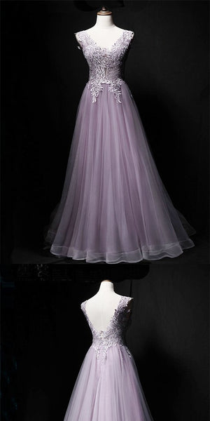 Charming Lavender Tulle Sleeveless A-Line Long Prom Dress,Party Dresses, Evening Dresses,PDY0318