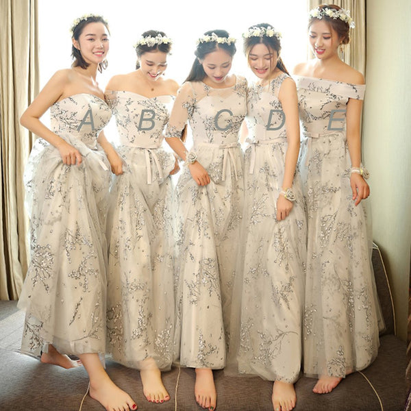 Sweetheart Different Style Floral Chiffon Long Bridesmaid Dresses,Wedding Party Dresses,WGY0185