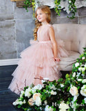 Popular Hot Selling V-neck Pink Tulle A-line Long Cheap Flower Girl Dresses, FGS0024