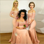 Mermaid Off-the-Shoulder Coral Bridesmaid Dress with Lace,Cheap Bridesmaid Dresses,WGY0345