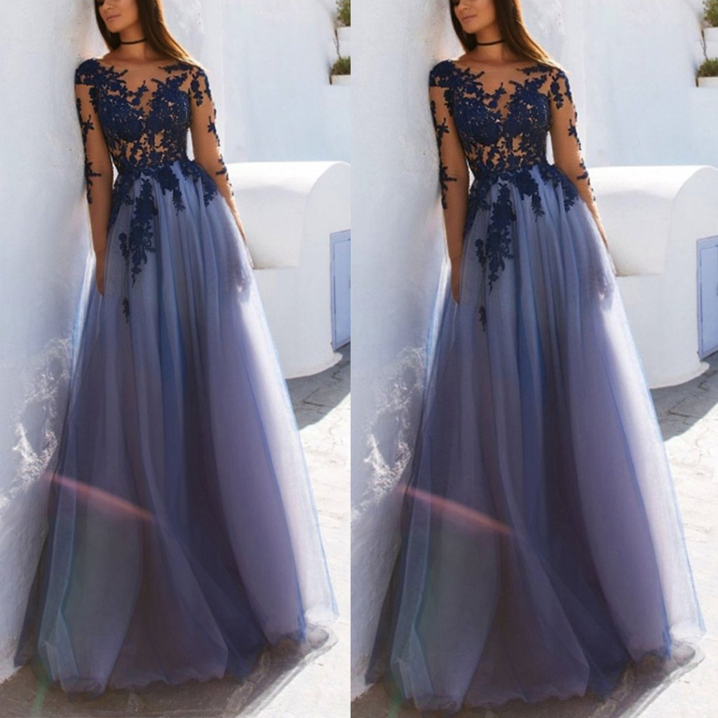 Sexy See Through Blue Lace Long Sleeve Open Back Custom Long Evening Prom Dresses , PDY0173