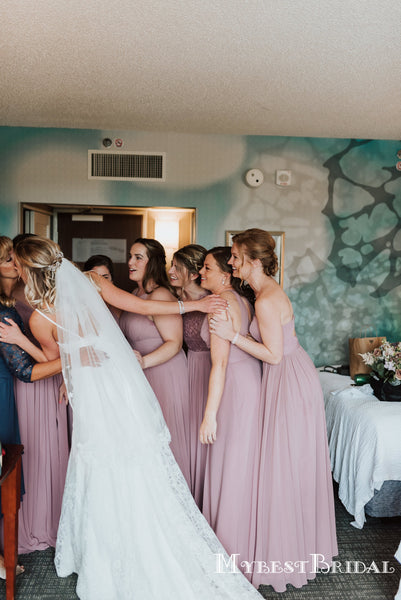 Mismatched Dusty Purple Chiffon A-line Long Cheap Bridesmaid Dresses, BDS0080